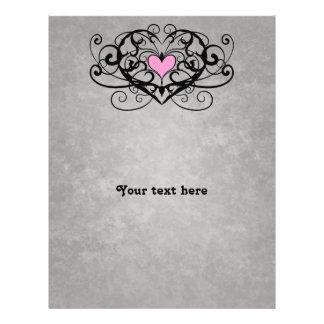 Gothic romance swirls and hearts wedding flyers