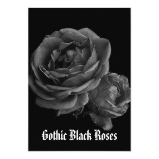 Gothic Romantic Black Roses 5x7 Paper Invitation Card