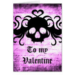 Gothic romantic fanged skull card