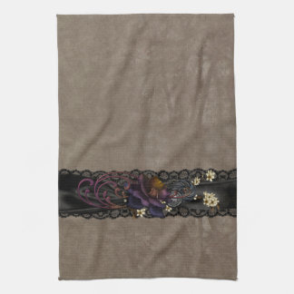 Gothic Rose and Black Lace Hand Towel