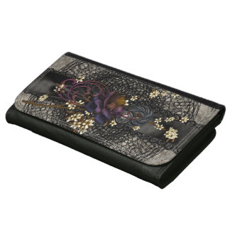 Gothic Rose and Black Lace Wallet For Women