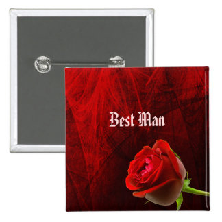 Gothic Rose Best Man Button