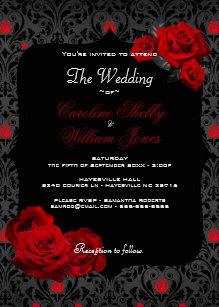 red black gothic wedding invitations zazzle