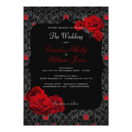 Wedding E Invitations: Gothic Rose Black And Red Wedding Invitation