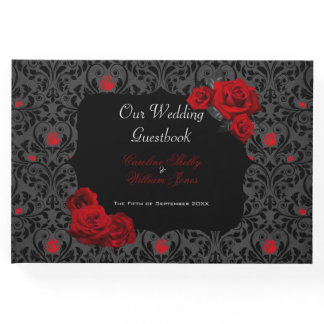 Gothic Rose Black and Red Wedding Invitation Guest Book