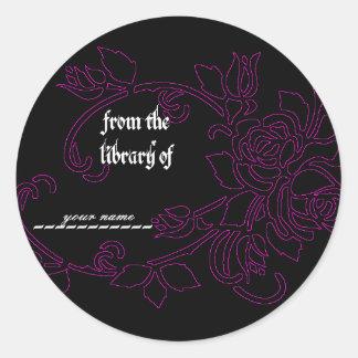 Gothic Rose Book Label Sticker