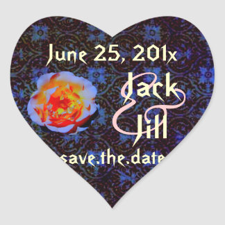 Gothic Rose Damask Save the Date Heart Sticker