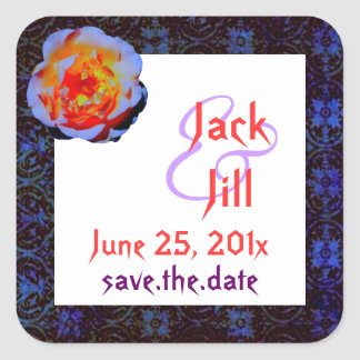 Gothic Rose Damask Save the Date Square Sticker