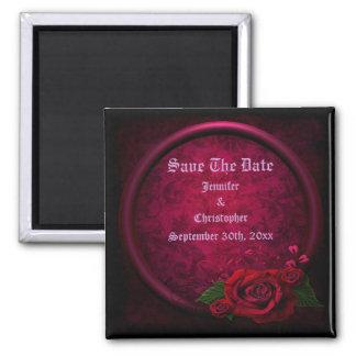 Gothic Rose Frame Save The Date Wedding Refrigerator Magnet