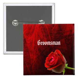 Gothic Rose Groomsman Button