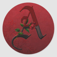 Gothic Rose Monogram A Classic Round Sticker
