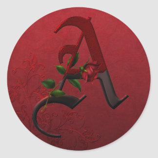 Gothic Rose Monogram A Classic Round Sticker