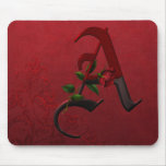 Gothic Rose Monogram A Mousepads