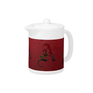 Gothic Rose Monogram A Teapot
