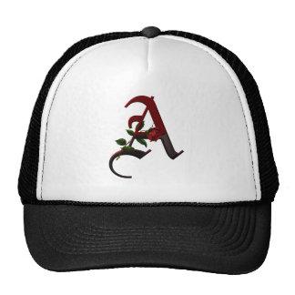 Gothic Rose Monogram A Trucker Hat