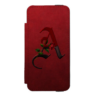 Gothic Rose Monogram A Wallet Case For iPhone SE/5/5s