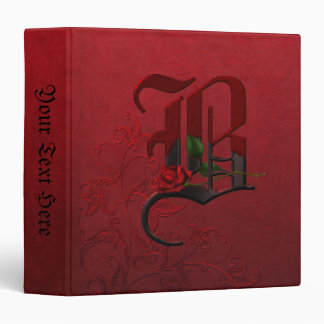 Gothic Rose Monogram B 3 Ring Binder