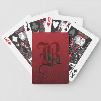 Gothic Rose Monogram B Bicycle Playing Cards