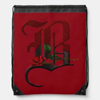 Gothic Rose Monogram B Drawstring Bag