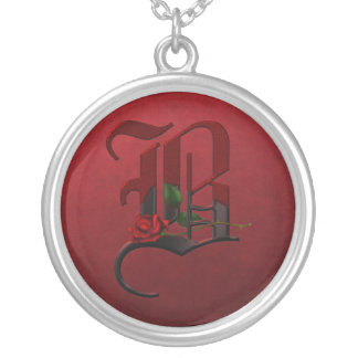 Gothic Rose Monogram B Round Pendant Necklace