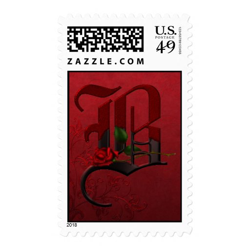 Gothic Rose Monogram B Stamp