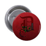 Gothic Rose Monogram D Pinback Buttons