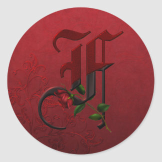 Gothic Rose Monogram F Classic Round Sticker