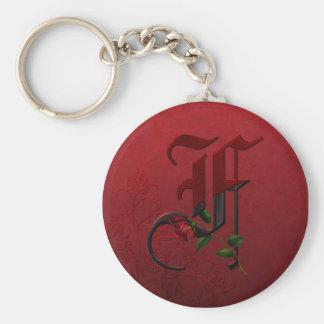 Gothic Rose Monogram F Keychain