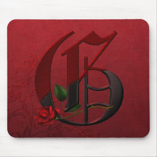 Gothic Rose Monogram G Mousepad