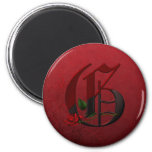 Gothic Rose Monogram G Refrigerator Magnet