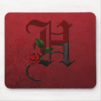 Gothic Rose Monogram H Mouse Pad