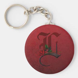 Gothic Rose Monogram K Keychain