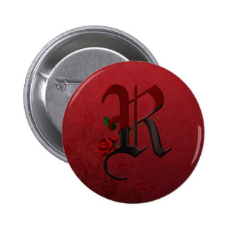 Gothic Rose Monogram R Pinback Buttons