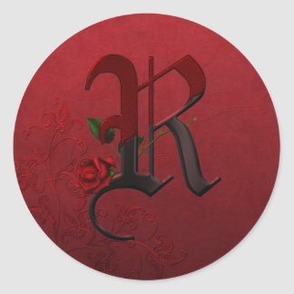 Gothic Rose Monogram R Classic Round Sticker
