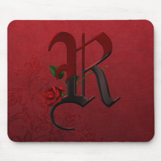 Gothic Rose Monogram R Mouse Pad