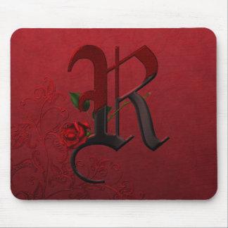 Gothic Rose Monogram R Mouse Pad
