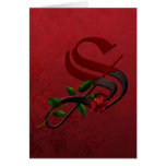 Gothic Rose Monogram S Greeting Card