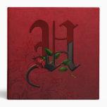 Gothic Rose Monogram U 3 Ring Binders