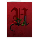 Gothic Rose Monogram U Greeting Cards