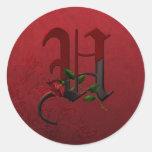 Gothic Rose Monogram U Round Stickers