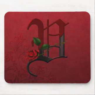 Gothic Rose Monogram V Mouse Pad