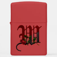 Gothic Rose Monogram W Zippo Lighter