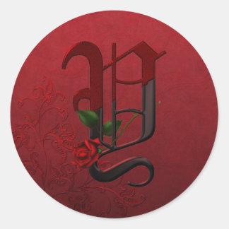 Gothic Rose Monogram Y Classic Round Sticker