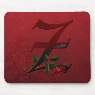 Gothic Rose Monogram Z Mouse Pad