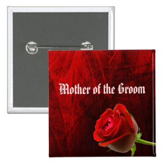 Gothic Rose Mother of the Groom Button Pin