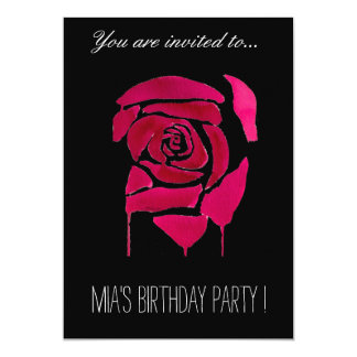 Gothic rose teenage girl birthday party card