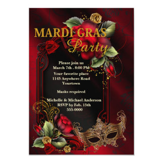 Gothic Roses and Mask Mardi Gras Party Card