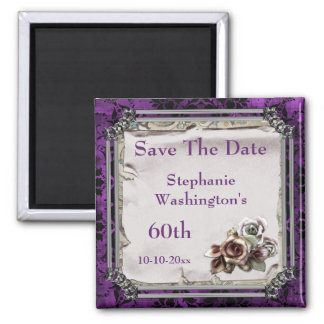 Gothic Roses & Black Damask 60th Save The Date 2 Inch Square Magnet