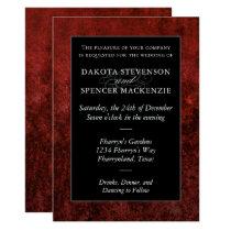 Gothic Ruby Deep Moody Red Velvet Grunge Wedding Invitation