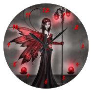 Gothic Ruby Fantasy Fairy Art Clock